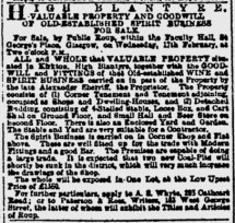 1886 Kirkton Pub sale by estate of Sherriff