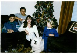 Me and siblings. Joanne, Ivan, Lorna Veverka Christmas 1991