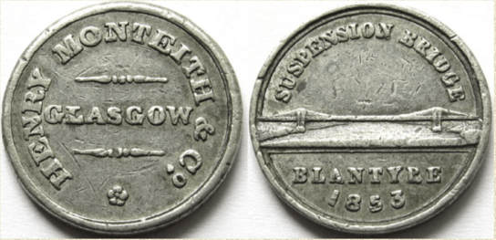 1853 Blantyre Suspension Bridge Token
