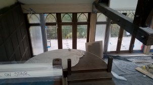 The new Staircase and Terrace at Crossbasket Castle. November 2015 (PV)