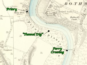 Map showing Priory Tunnel Dig