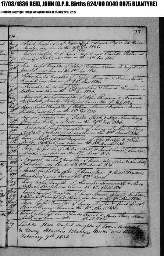 1836 John Reid birth