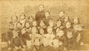 1880 Jen Brown far left at school, Uddingston