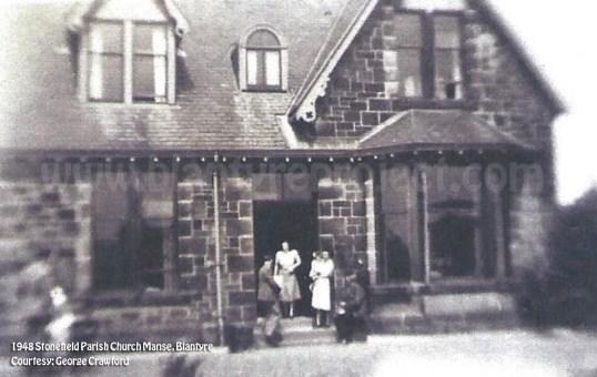 1945 Stonefield Parish Church Manse Rev Finlayson & wife jean wm