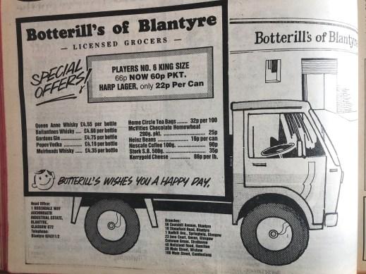 1980 Botterils of Blantyre Advert