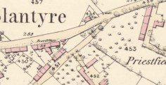 1859 Map showing High Blantyre Post office