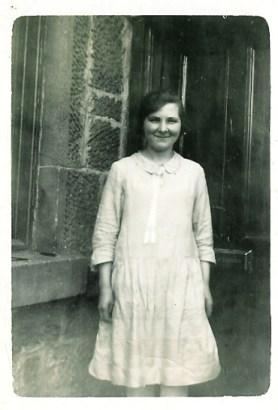 1928 Jean Danskin at back door