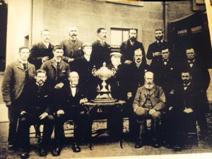 1891 Blantyre Curling Team celebrate at Priestfield Farm, High Blantyre
