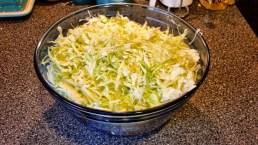 Shredded cabbage, sprinkled with sea salt