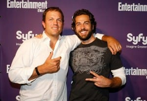 Adam Baldwin (left) and Zachary Levi at the Entertainment Weekly and Syfy invade Comic-Con party at Hotel Solamar on July 25