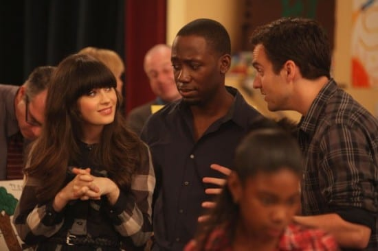 Jess (Zooey Deschanel) and Winston (Lamorne Morris) are disturbed by Nick's (Jake Johnson) behavior.