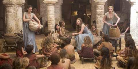 Margaery (Natalie Dormer) speaks to the orphans of Kings Landing.