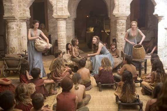 Margaery (Natalie Dormer) speaks to the orphans of Kings Landing.