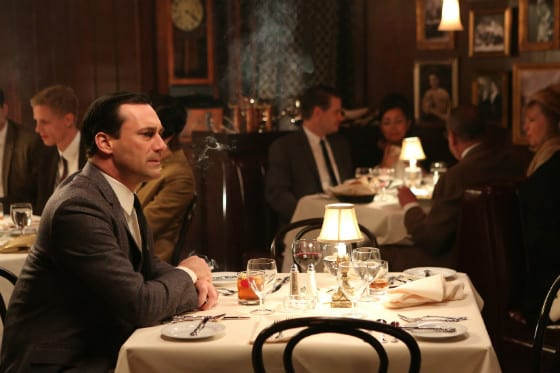 Don Draper (Jon Hamm) sits alone in a restaurant waiting for his mistress, Sylvia (Linda Cardellini) to return.
