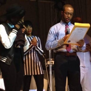 Segun Idowu, a special assistant to Boston City Councilor Charles C. Yancey, presented Monae with the resolution