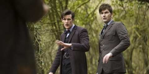 The Doctor (Matt Smith) is met with two past versions of himself (David Tennant and Jon Hurt).