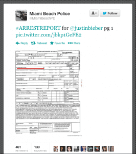 Justin Bieber's arrest report as tweeted by the Miami Beach Police Dept.