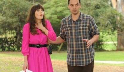 Nick (Jake Johnson) tries to surprise Jess (Zooey Deschanel) for her birthday.