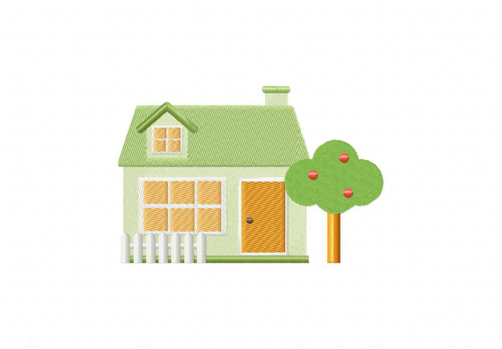 Picket Fence House Machine Embroidery Design