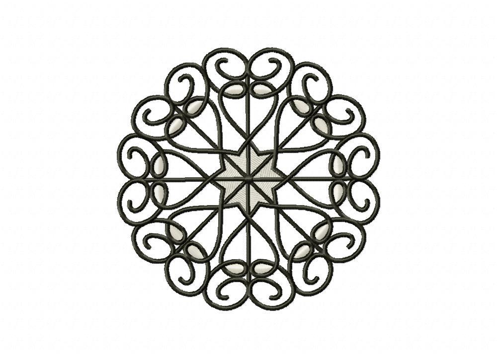 Line Art Heart Circle Machine Embroidery Design
