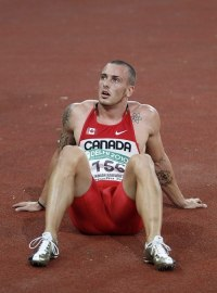 Canada's Connaughton reacts after the men's 200 meter final during the Commonwealth Games in New Delhi