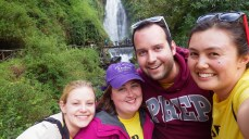 Waterfall selfie with Nicole, Colleen, and Dan