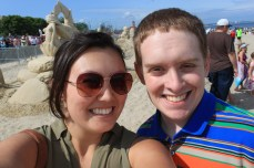 Peter and I with some more sand castles!