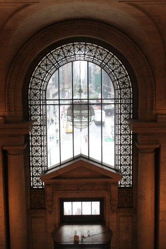 View out the front windows of the NYPL