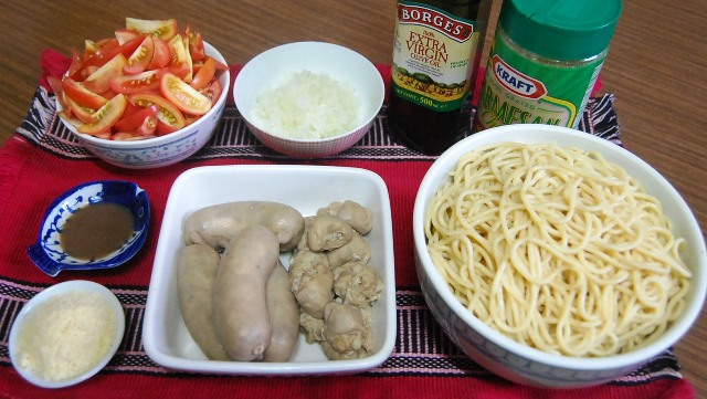 Pasta Ilocana ingredients