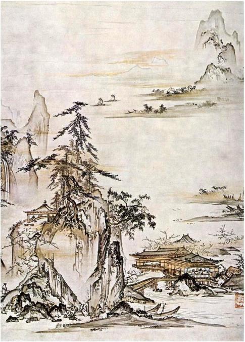 Shokei Tenyu, Small Lake Landscape, mid-15th century