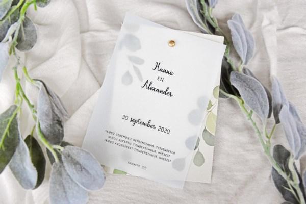 Huwelijksuitnodiging eucalyptus