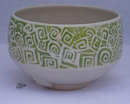 Porcelain tea bowl with a clear glaze.