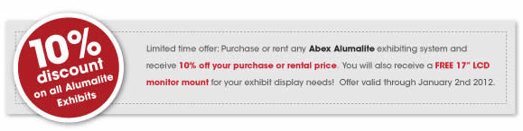 Save 10% on all abex alumalite trade show booths from blazer exhibits