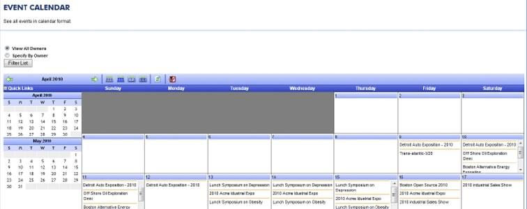 Blazer Exhibits event calendar