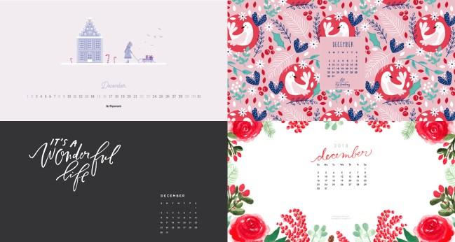 december 2018 calendar backgrounds