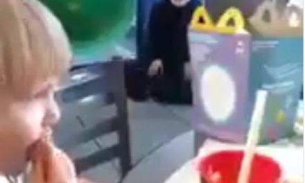 Muslim Woman Prays Inside of McDonald's – Scares Children at Playground (VIDEO)