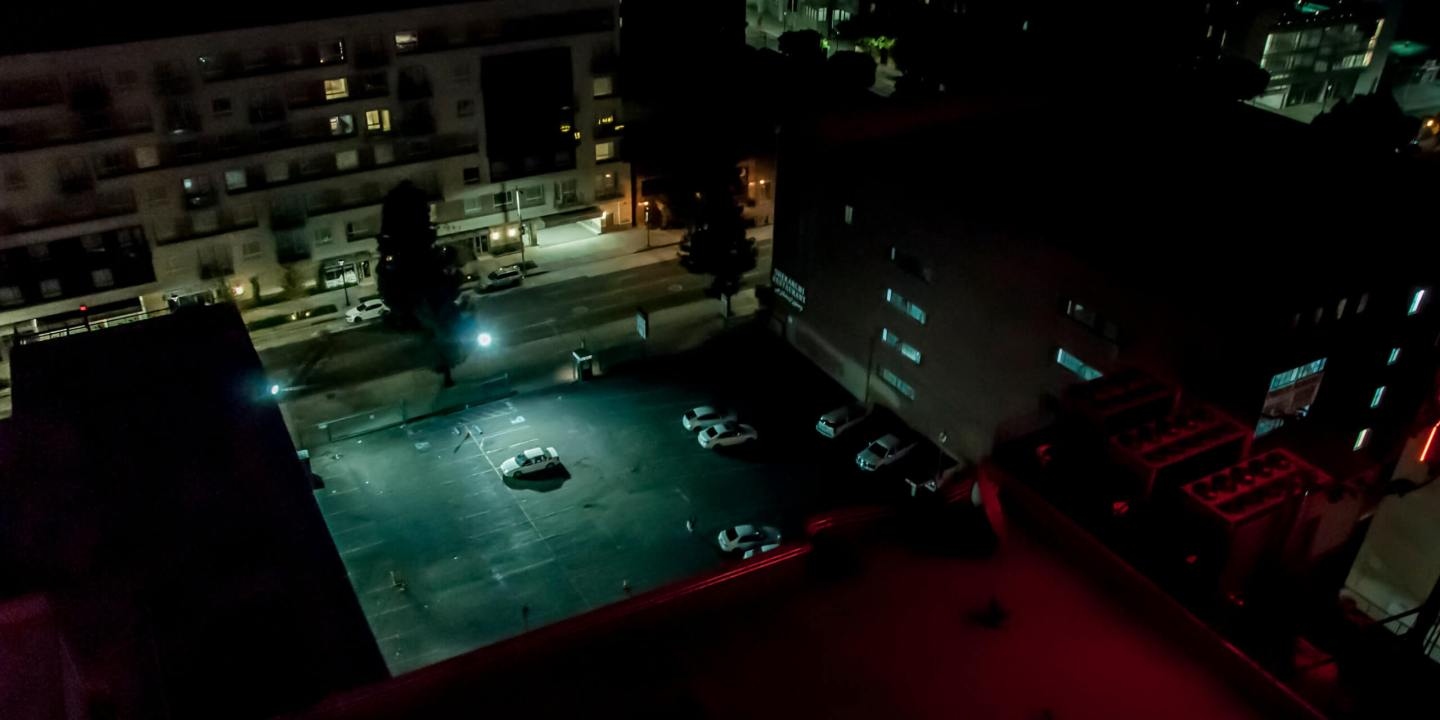 Car park at night in Downtown Los Angeles