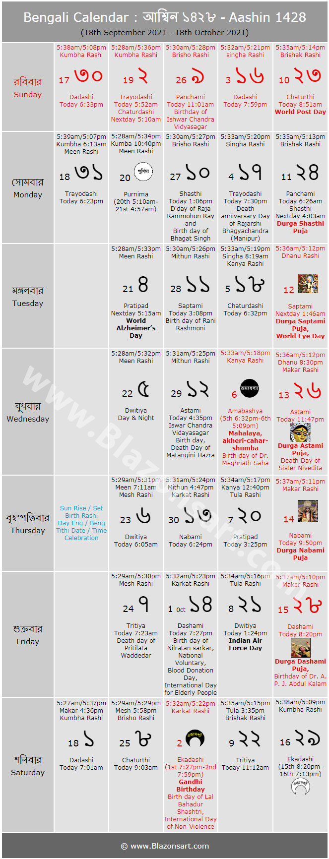 Bengali Calendar Aashin 1426 বাংলা কালেন্ডার আশ্বিন