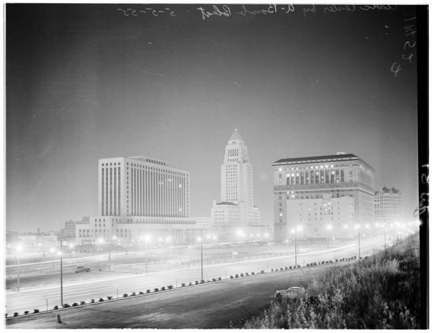 Los_Angeles_Civic_Center_buildings_by_Nevada_A_Bomb_blast_1955