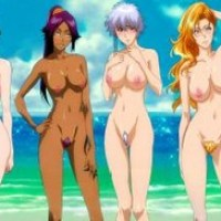 This image shows 6 of Bleach's hottest girls with big tits naked on the beach!