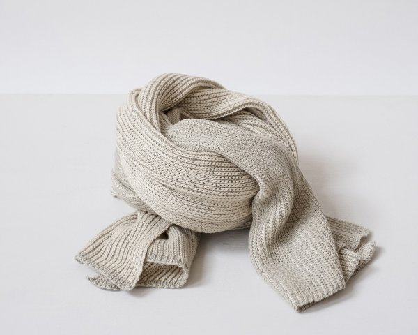Organic Cotton Half and Half Scarf in Dove Grey