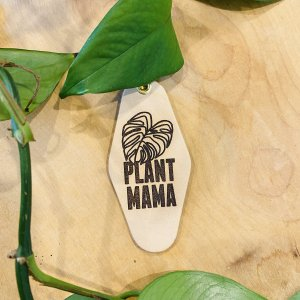"""Plant Mama"" Vintage Ribbed Gold Pattern Leather & Velvet Keychain"