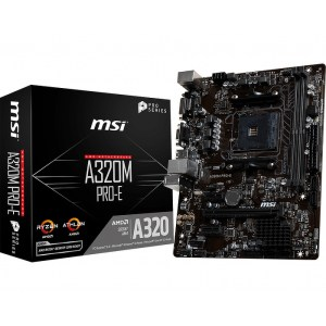 MSI A320M PRO-E Socket AM4 AMD A320 DDR4 Micro ATX Motherboard (A320M PRO-E)