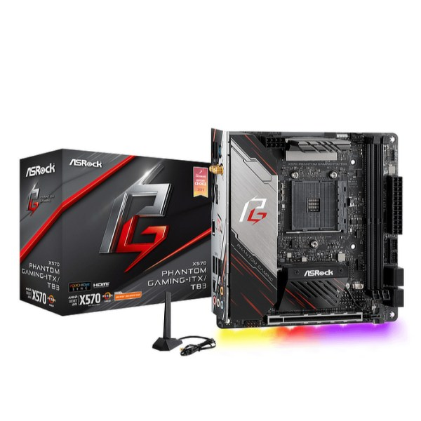 ASRock X570 Phantom Gaming-ITX/TB3 Socket AM4 AMD X570 DDR4 Mini ITX Motherboard (90-MXBB10-A0UAYZ)