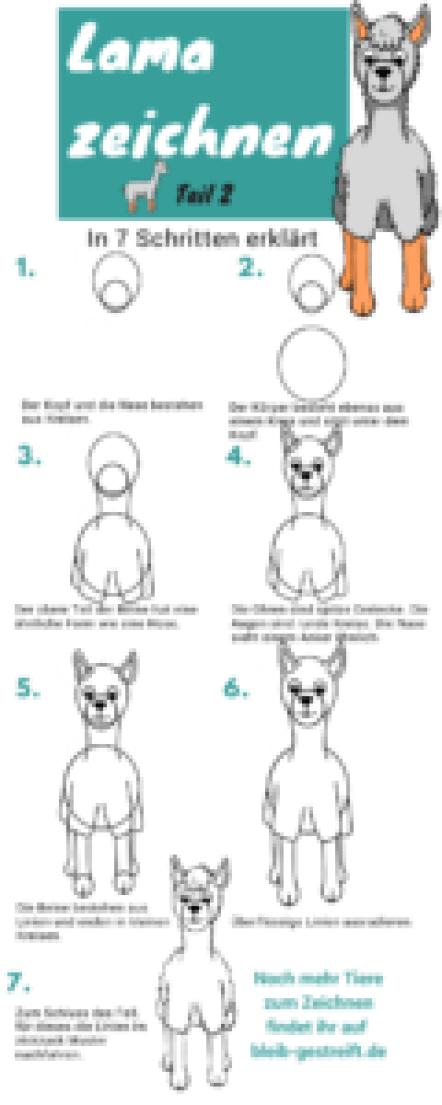 Anleitung Lama zeichnen