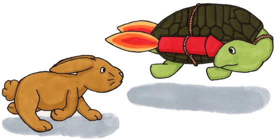 Schildkröte mit Raketen