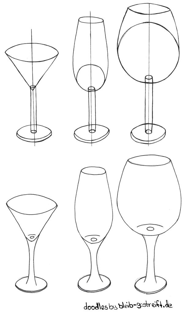Gegenstände zeichnen Gläser