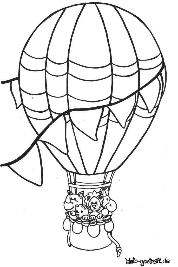 Ausmalbild, Reise im Heißluftballon