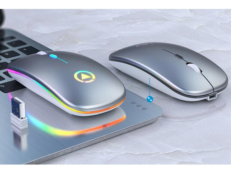 Rechargeable Slim RGB Wireless Mouse with Leather Mouse Pad