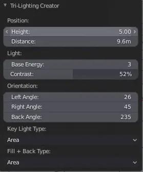 Operator of the Tri-Lighting addon for Blender 2.8